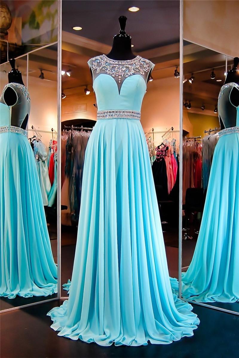 4d8a694991134 Classy A Line Jewel Neckline Long Turquoise Chiffon Beaded Prom Dress