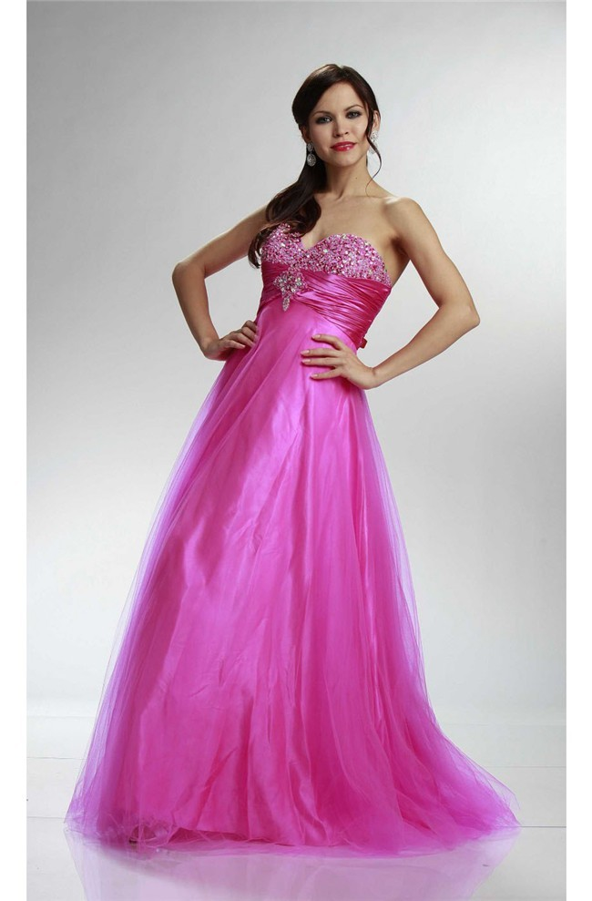 Classy A Line Strapless Long Hot Pink Tulle Beaded Prom Dress