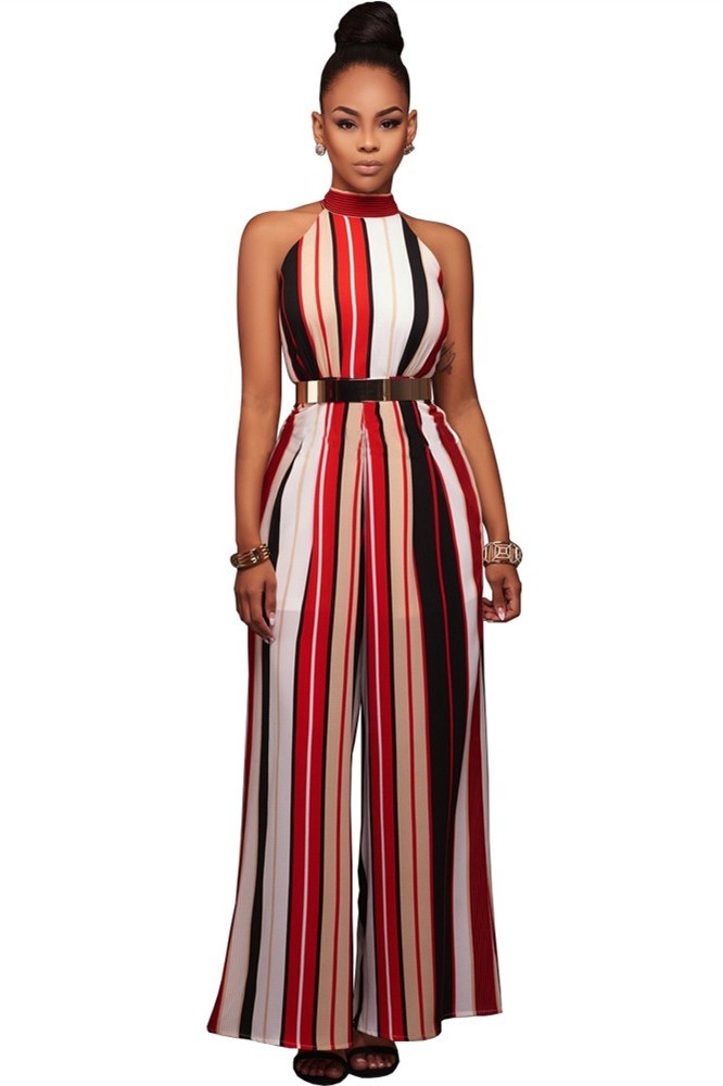 57c3efb76189 Classy Halter Wide Legged Rompers Women Striped Jumpsuit