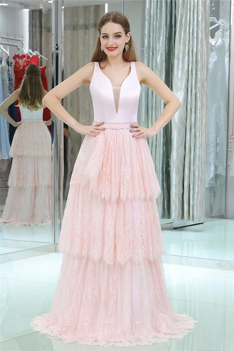 Classy Plunging Neckline Long Blush Pink Lace Tiered Prom Dress