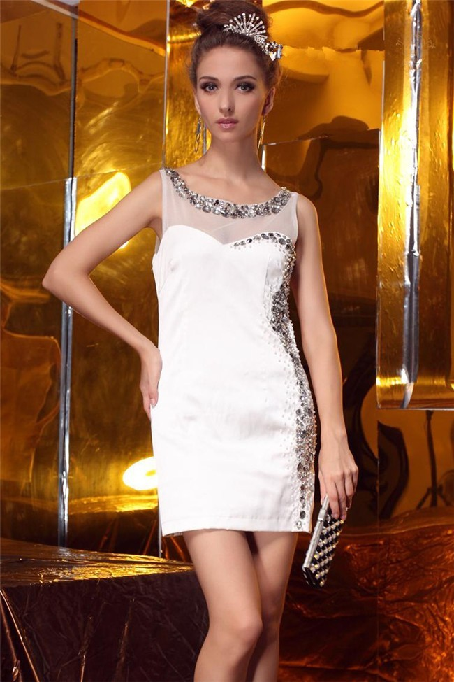 short white column dress