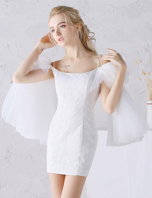 Column Cold Shoulder Short Mini Lace Tulle Boho Beach Wedding Dress