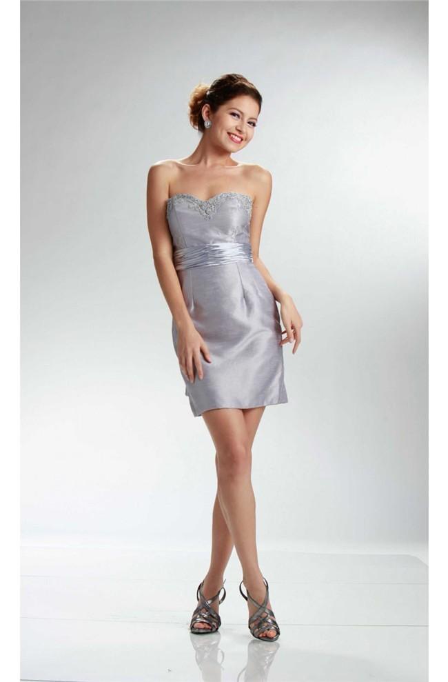 e9d261e5878 Column Strapless Short Silver Taffeta Party Dress With Sash