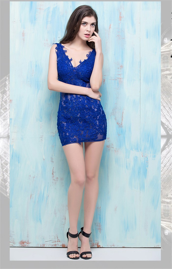 cffcae0d3afd Column V Neck Sheer See Through Mini Royal Blue Lace Night Out Club Party  Dress