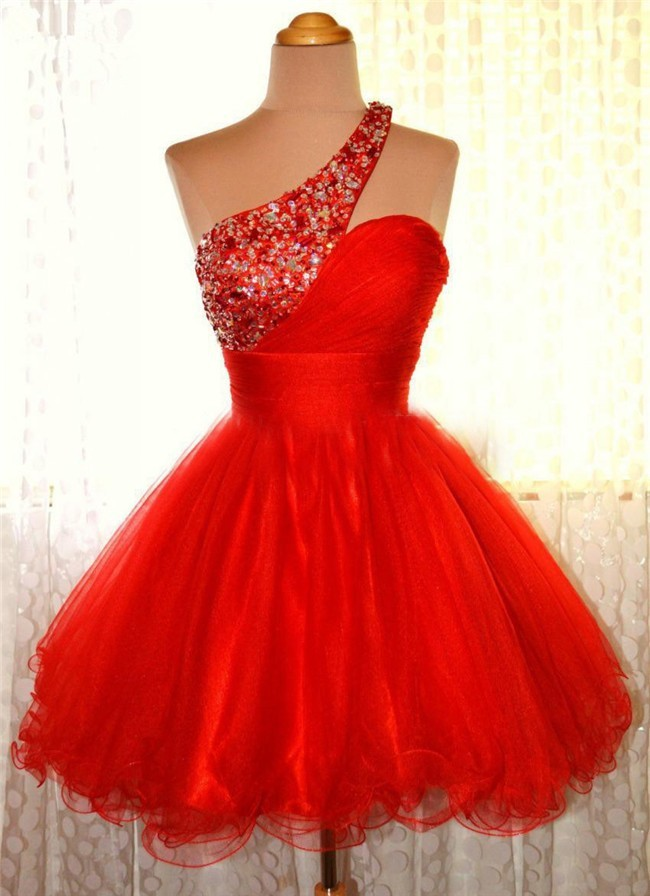 181a12b48 Cute Ball Gown One Shoulder Short Red Tulle Cocktail Prom Dress