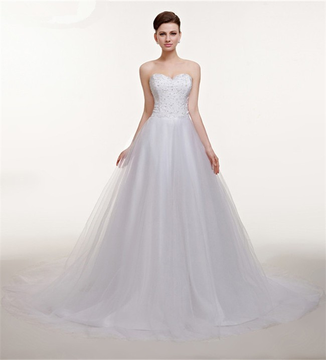 Cute Ball Gown Strapless Tulle Lace Beaded Corset Wedding Dress