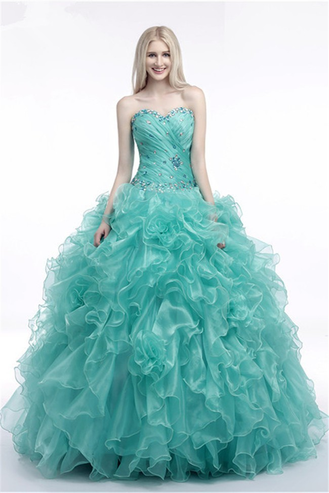 Cute Ball Gown Sweetheart Corset Mint Green Organza Ruffle Beaded ...