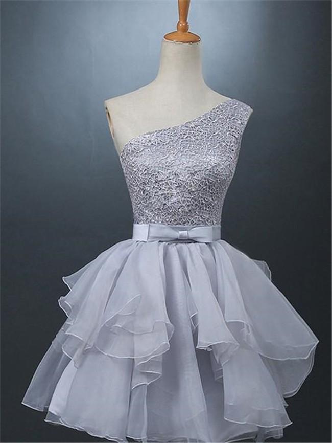 fa8cea7bdcf Cute Ball One Shoulder Silver Lace Organza Ruffle Short Prom Dress Bow Sash