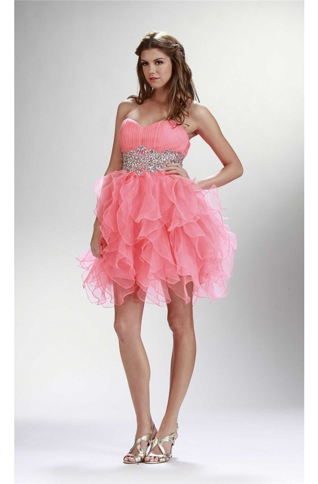 Cute Ball Strapless Short Watermelon Organza Ruffle Cocktail Prom Dress