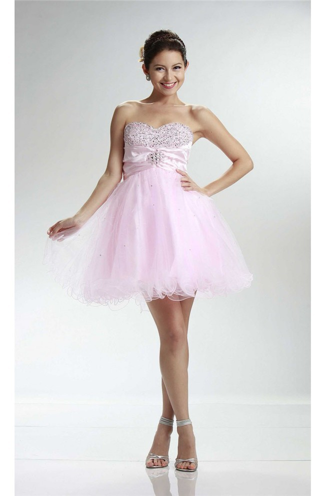 Cute Ball Sweetheart Short Light Pink Tulle Beaded Cocktail Prom Dress 9505f66c4