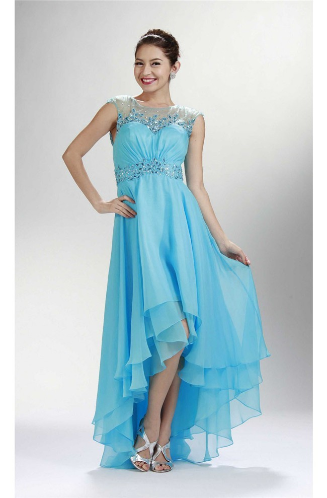 Cute Cap Sleeve Open Back High Low Sky Blue Chiffon Beaded Prom Dress