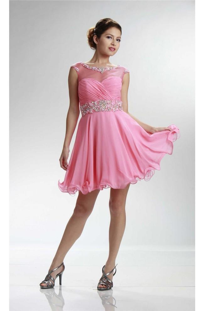 Cute Cap Sleeve Open Back Short Pink Chiffon Beaded Cocktail Prom Dress