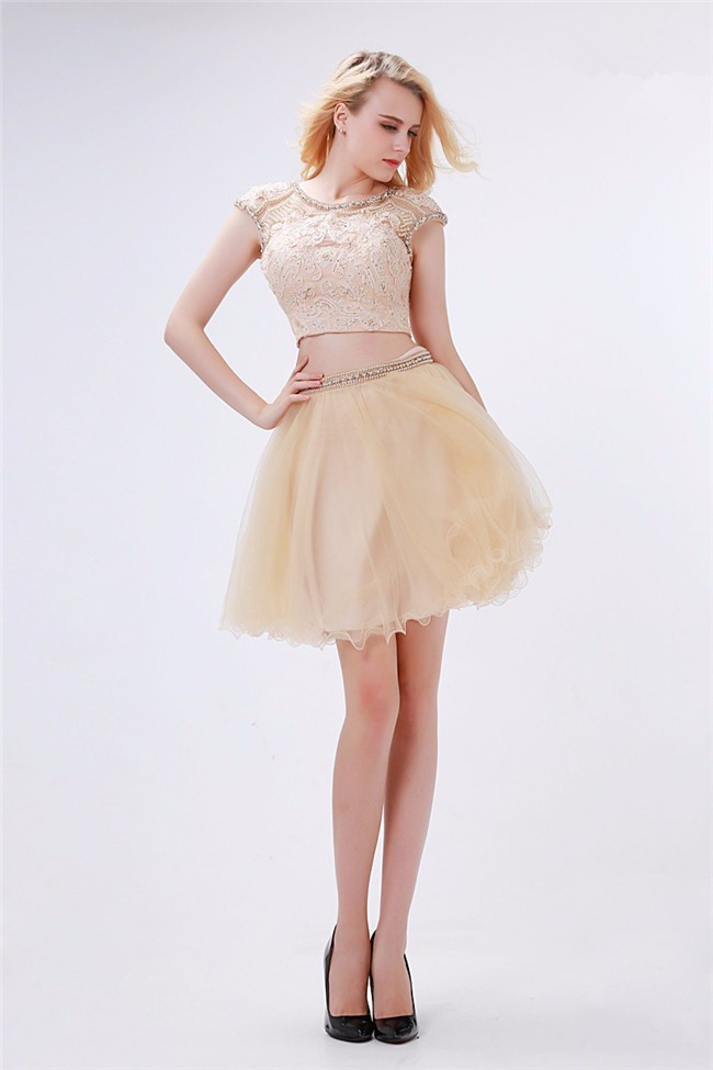 Cute Cap Sleeve Open Back Two Piece Short Champagne Tulle