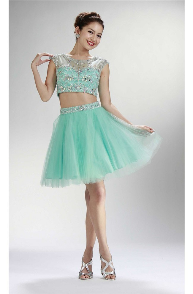 Cute Cap Sleeve Two Piece Short Mint Green Tulle Beaded Prom Dress