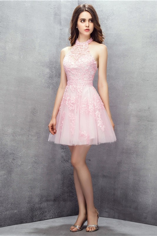 04d3c0f820e Cute Halter Short Light Pink Tulle Lace Beaded Party Prom Dress