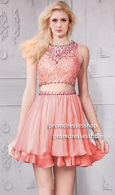 Cute High Neck Short Mini Coral Chiffon Lace Beaded Two Piece Prom Dress