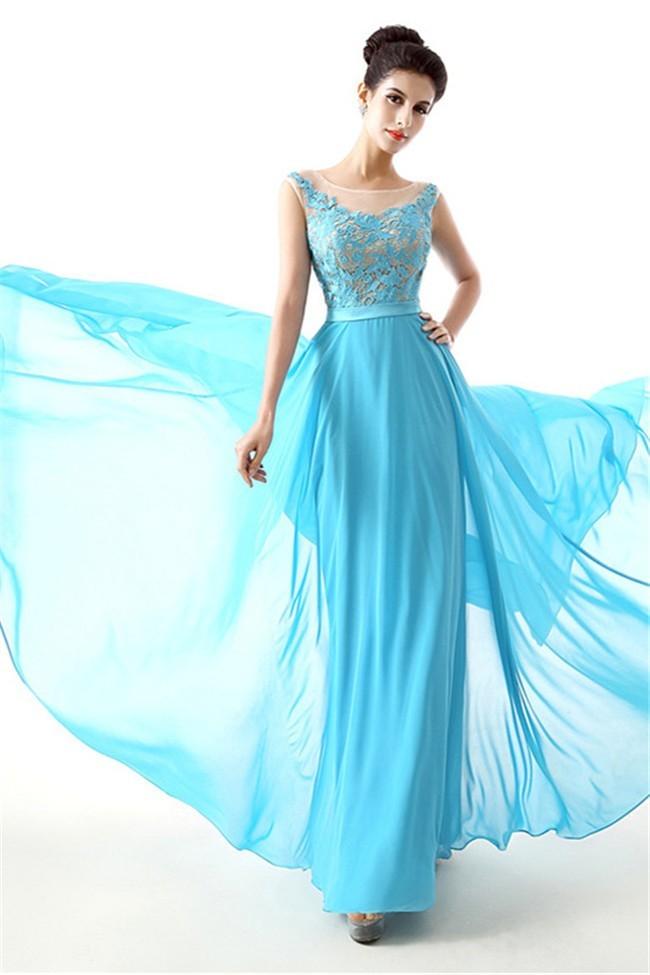 Cute Illusion Neckline Open Back Long Turquoise Lace Chiffon Prom Dress