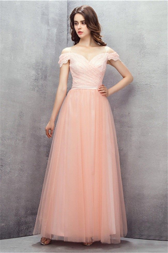 Cute Off The Shoulder Long Blush Pink Lace Tulle Prom Dress