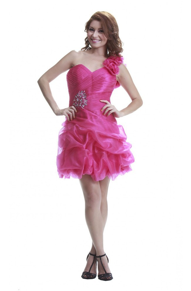 Cute One Shoulder Short Hot Pink Organza Bubble Prom Dress