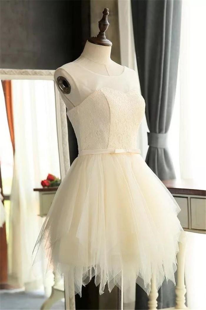 00dfe157e9c Cute Scoop Neck Cream Lace Tulle Ruffle Short Prom Dress Bow Belt