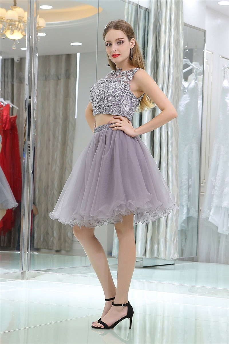 af5eb749c11 Cute Sleeveless Short Grey Lace Tulle Two Piece Cocktail Prom Dress