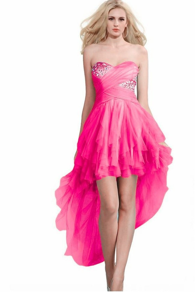 Women Knotted Dress High Low Stage Dance Wear Cute Club ...