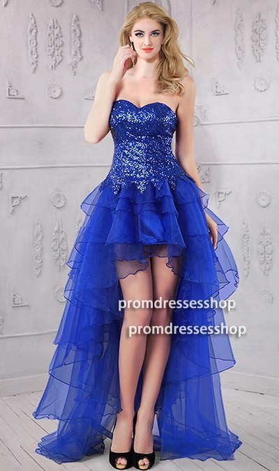 Cute Strapless High Low Royal Blue Sequin Tulle Ruffle Prom Dress