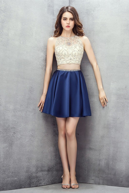 Cute Two Piece Short Navy Satin Two Tone Prom Dress