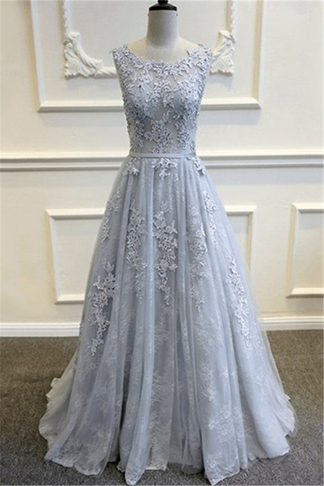 Elegant A Line Boat Neck Low Back Long Silver Lace Prom Dress With Belt