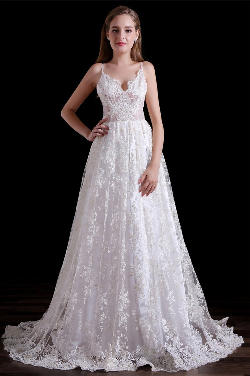 Elegant a line sweetheart low back spaghetti straps lace for Lace low back wedding dress