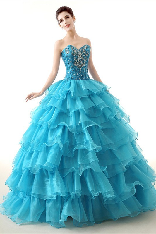 Elegant Ball Gown Turquoise Organza Ruffle Tiered Prom Dress Corset Back cc283331d