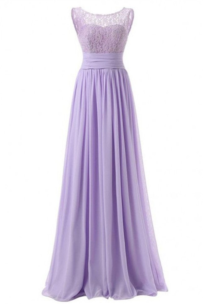 495707b8f Elegant Bateau Neckline Lilac Lace Chiffon Bridesmaid Prom Dress