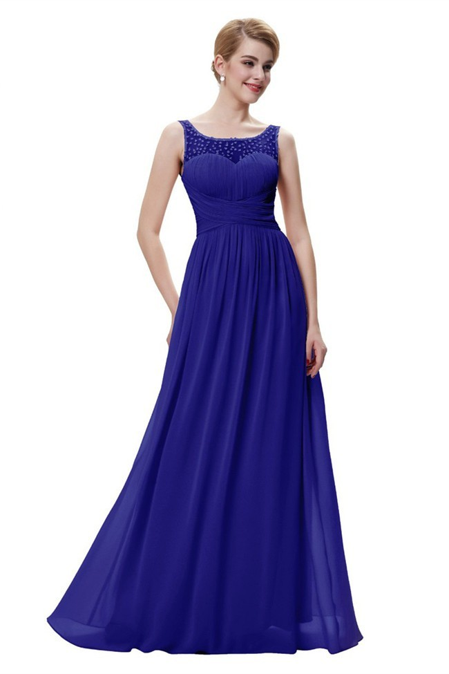 Purple Sleeveless Beaded Chiffon Prom Dress With Cascading