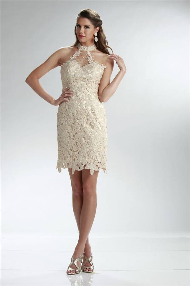 Elegant Column Halter Short Champagne Venice Lace Beaded Prom Dress