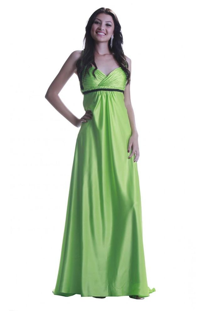 Elegant Halter Empire Waist Criss Cross Back Lime Green Silk Evening Dress