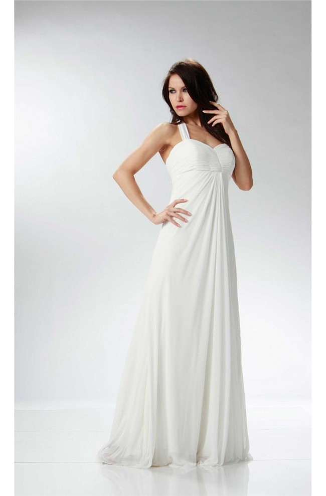 c701f790889f Elegant Halter Empire Waist Ivory Chiffon Ruched Beach Wedding Dress