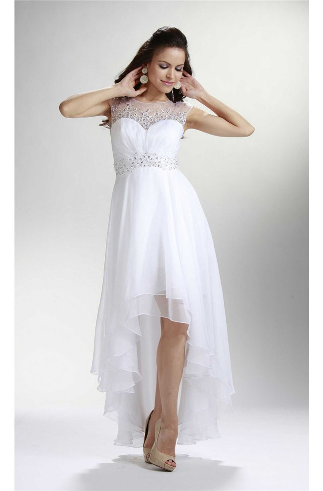 Elegant High Low Cap Sleeve Open Back White Chiffon Beaded Prom Dress