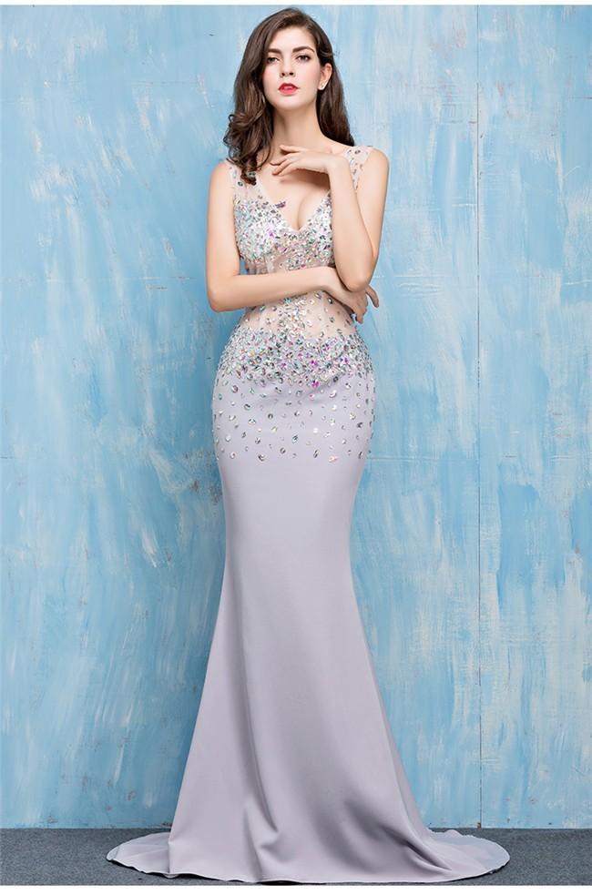 Elegant Mermaid V Neck Silver Satin Tulle Beaded Sheer Prom Dress
