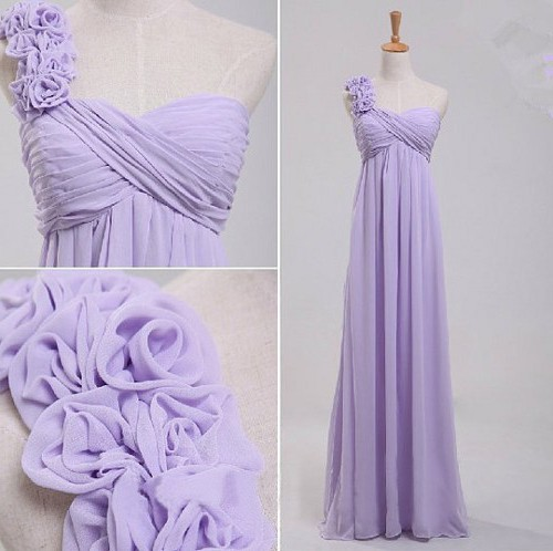 Elegant One Shoulder Empire Waist Long Lavender Chiffon Bridesmaid Dress Flowers Strap