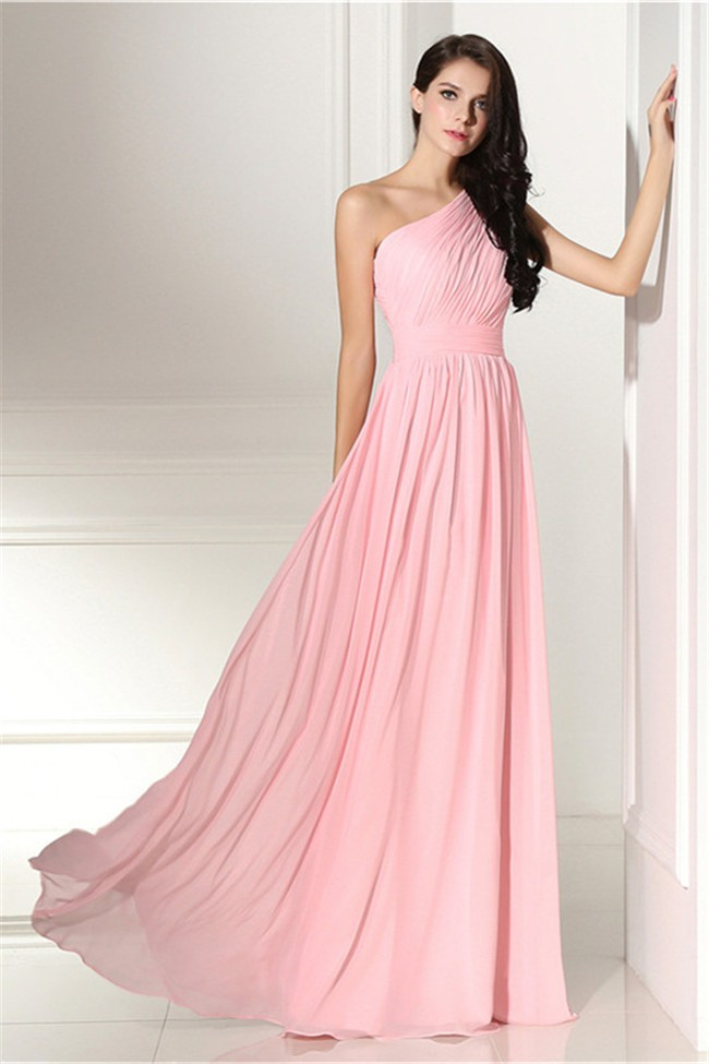 Elegant one shoulder long pink chiffon wedding guest for One shoulder dress for wedding guest