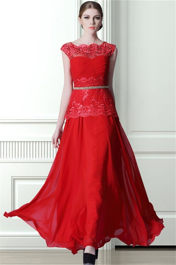 Elegant Scalloped Neck Long Red Chiffon Lace Beaded Prom Dress With Belt