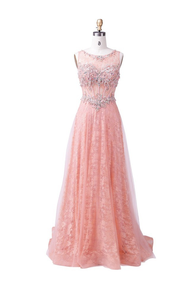Elegant Scoop Neck Sleeveless Long Blush Pink Tulle Lace Beaded Prom ...