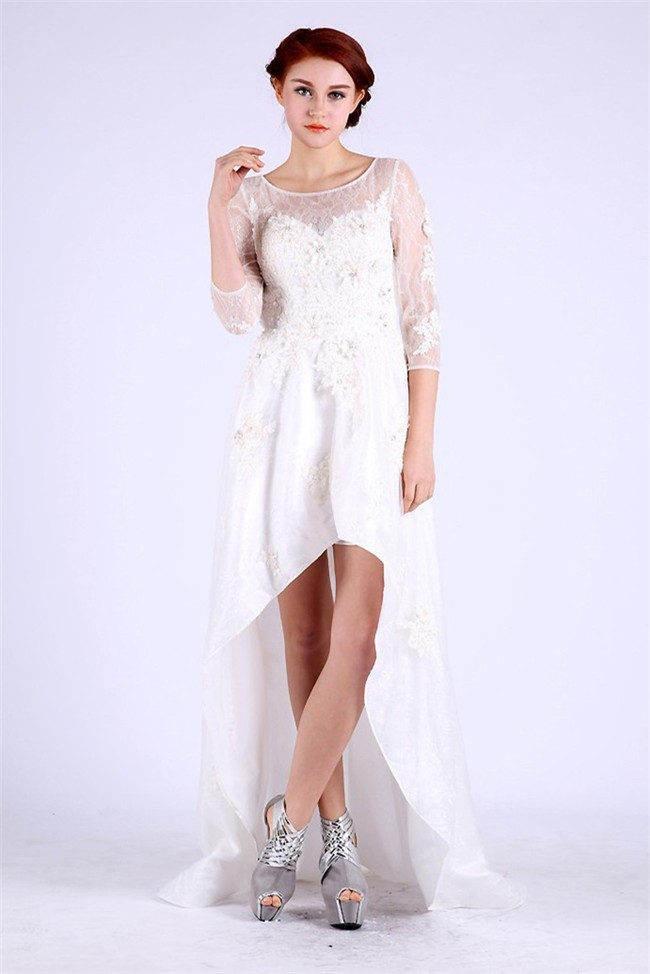Elegant Scoop Neck White Taffeta Lace High Low Prom Dress With Sleeves