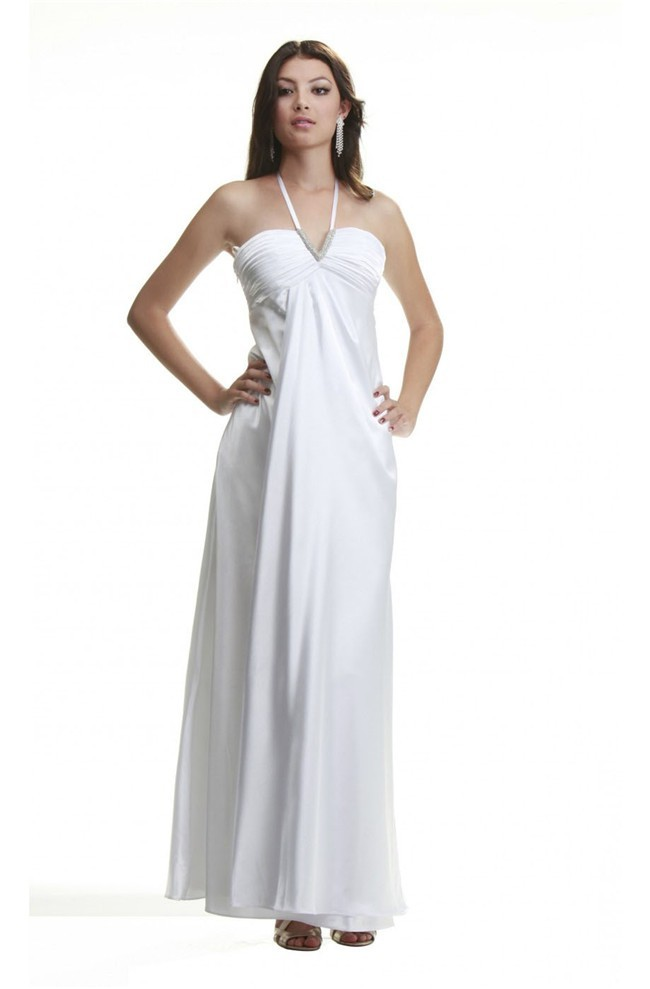 Elegant Sheath Halter Empire Waist Long White Silk Evening Prom Dress