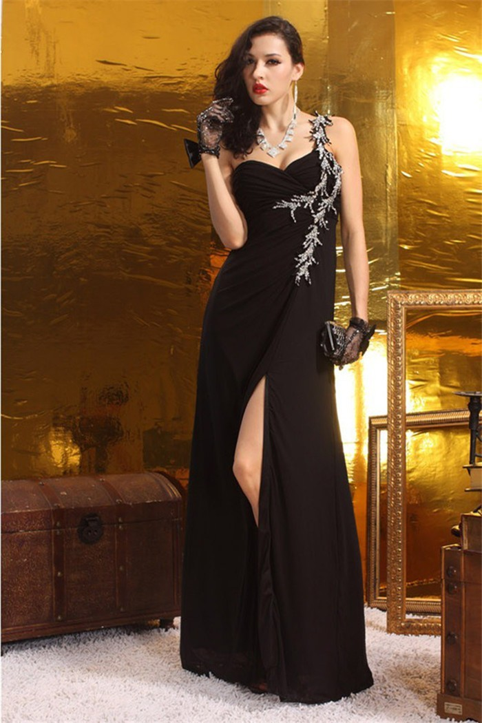 69c679cfe3a664 Elegant Sheath One Shoulder High Slit Long Black Chiffon Beaded Prom Dress