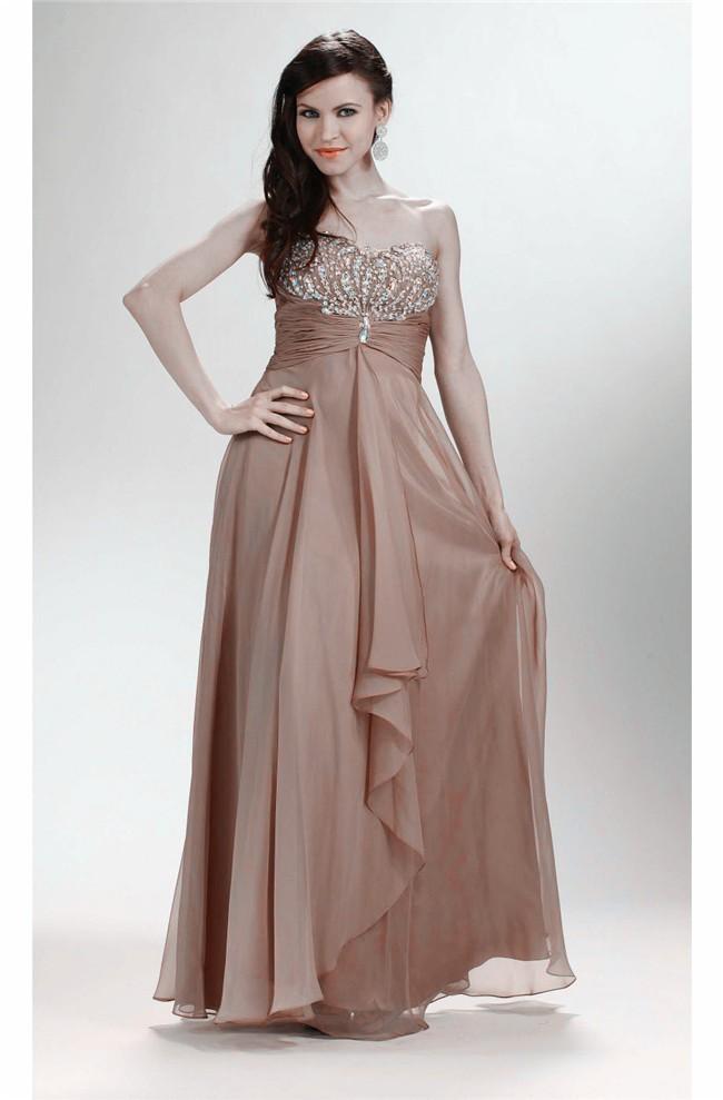 Elegant Sheath Strapless Long Light Brown Chiffon Beaded Prom Dress