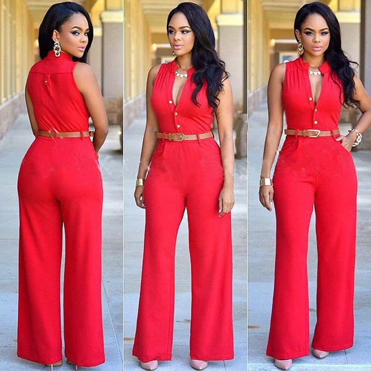 325eb0e626dc Elegant Sleeveless Wide Legged Rompers Womens Jumpsuit With Belt
