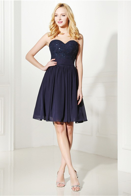 6740a0f21ec Elegant Sweetheart Short Navy Lace Chiffon Party Prom Dress With Sash Bow