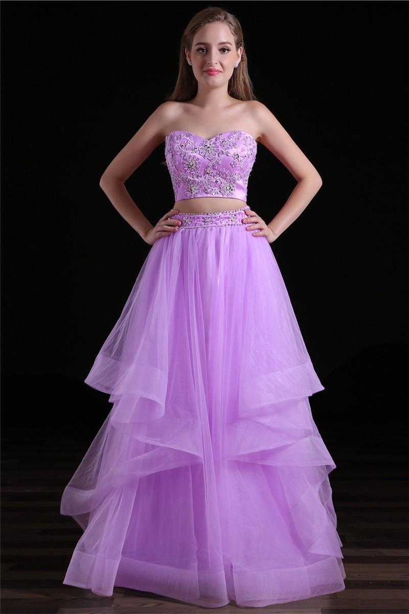 Elegant Sweetheart Two Piece Long Lilac Tulle Ruffle Prom Dress