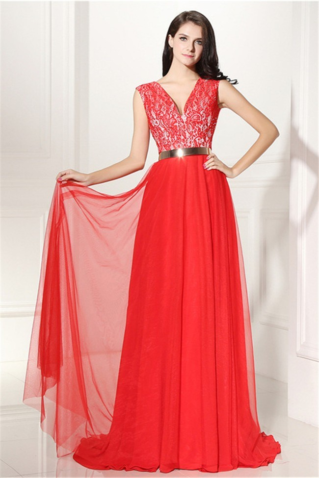 Elegant V Neck Long Red Lace Chiffon Prom Dress With Belt